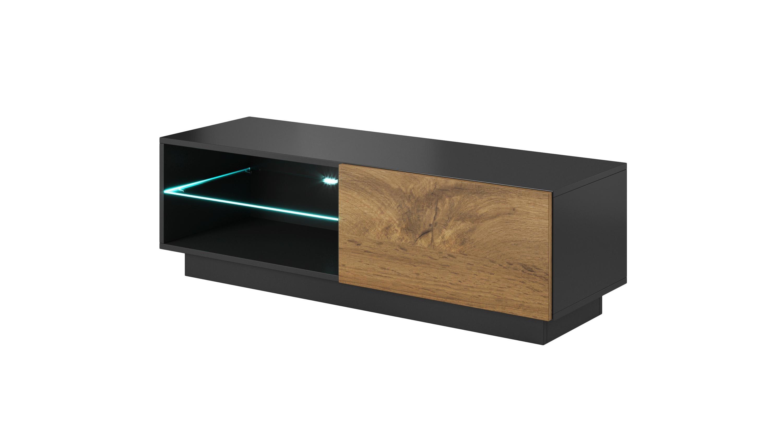 Comoda TV din pal si MDF, cu 1 usa Livo RTV-120S Wotan Oak / Anthracite, l120xA40xH38 cm imagine