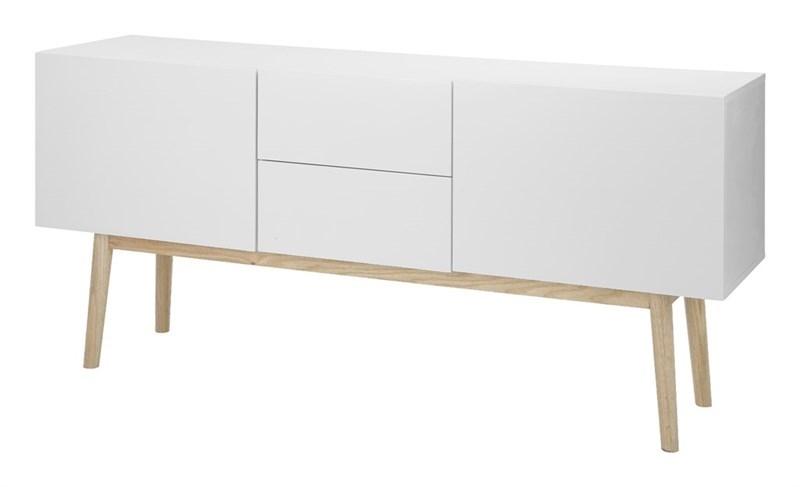 Comoda TV din MDF cu 2 sertare si 2 usi Bergen White, l150xA40xH71,5 cm imagine