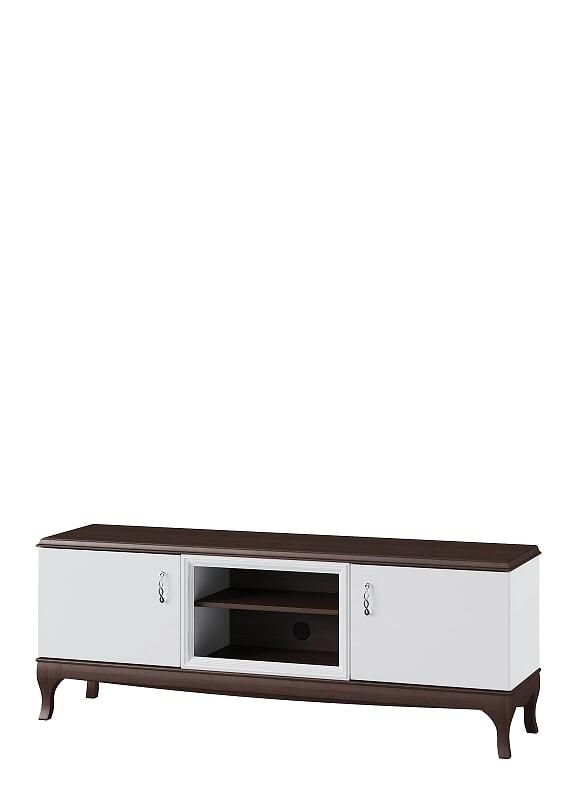 Comoda TV din MDF si furnir, cu 2 usi Massimo 25 White / Mocha, l165xA42xH59 cm