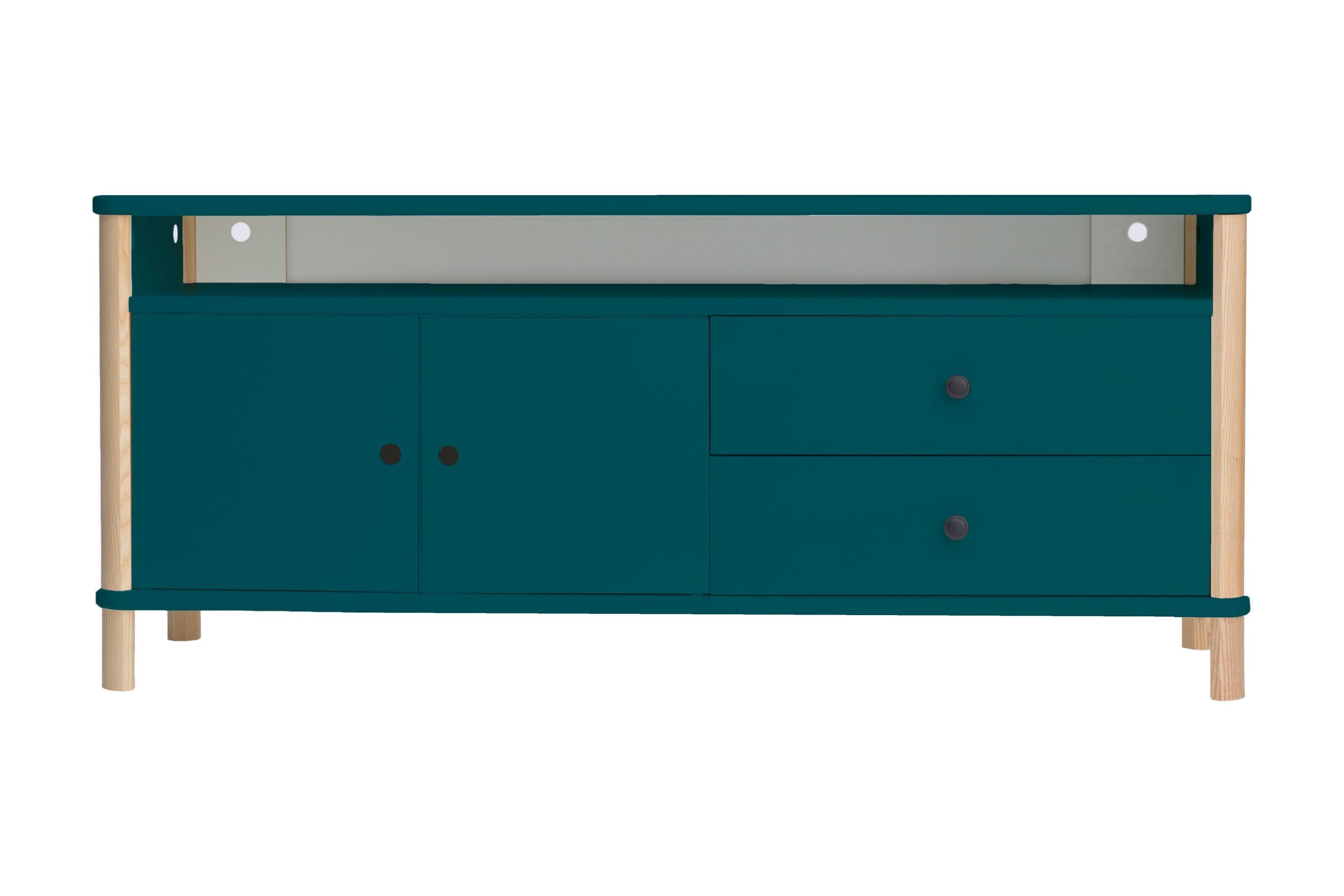 Comoda TV din MDF si lemn de frasin cu 2 sertare si 2 usi Ashme Petrol Blue l140xA45xH60 cm
