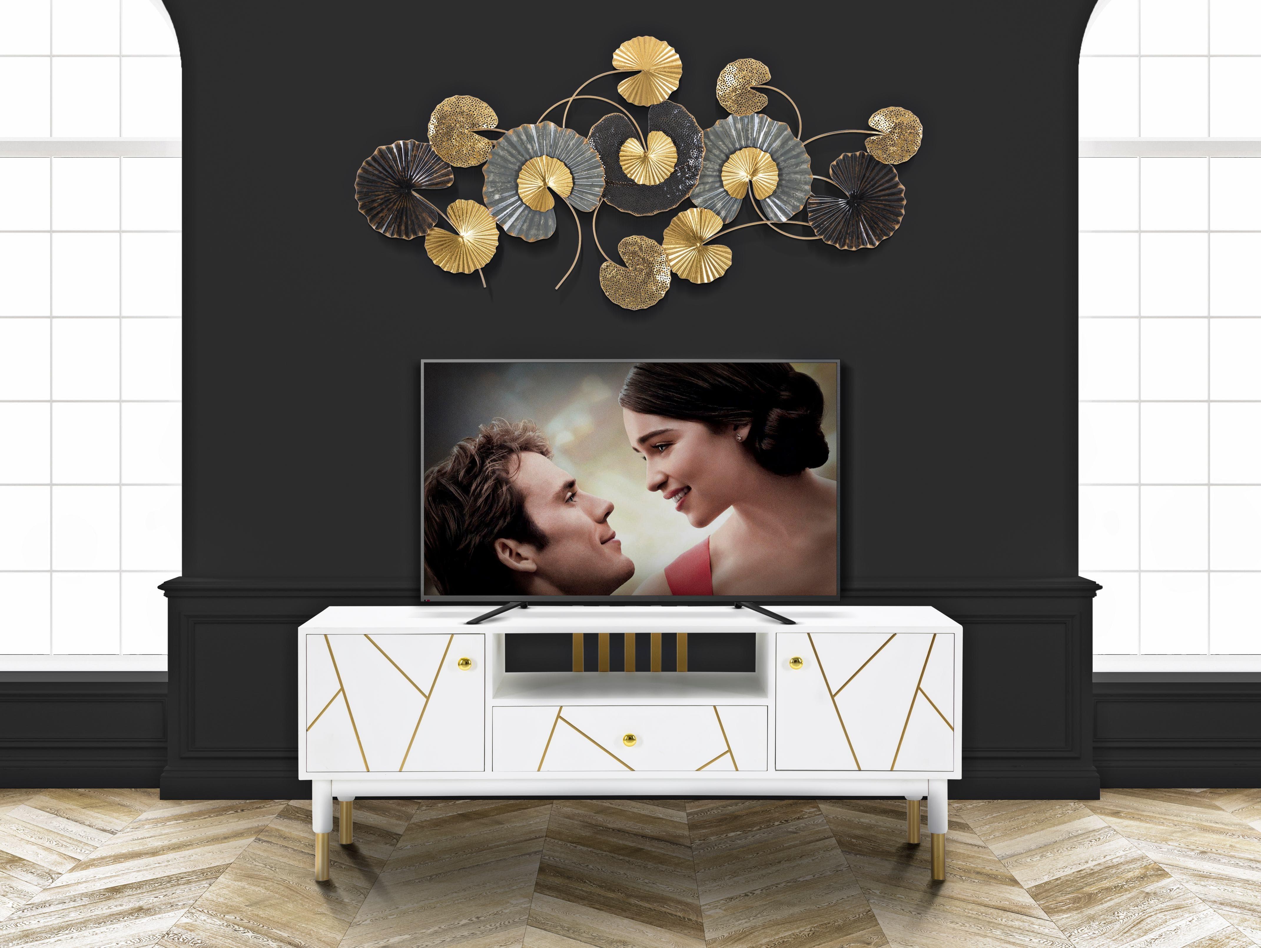 Comoda TV din MDF si metal, cu 1 sertar si 2 usi Luxy Alb / Auriu, l140xA50xH55 cm vivre.ro
