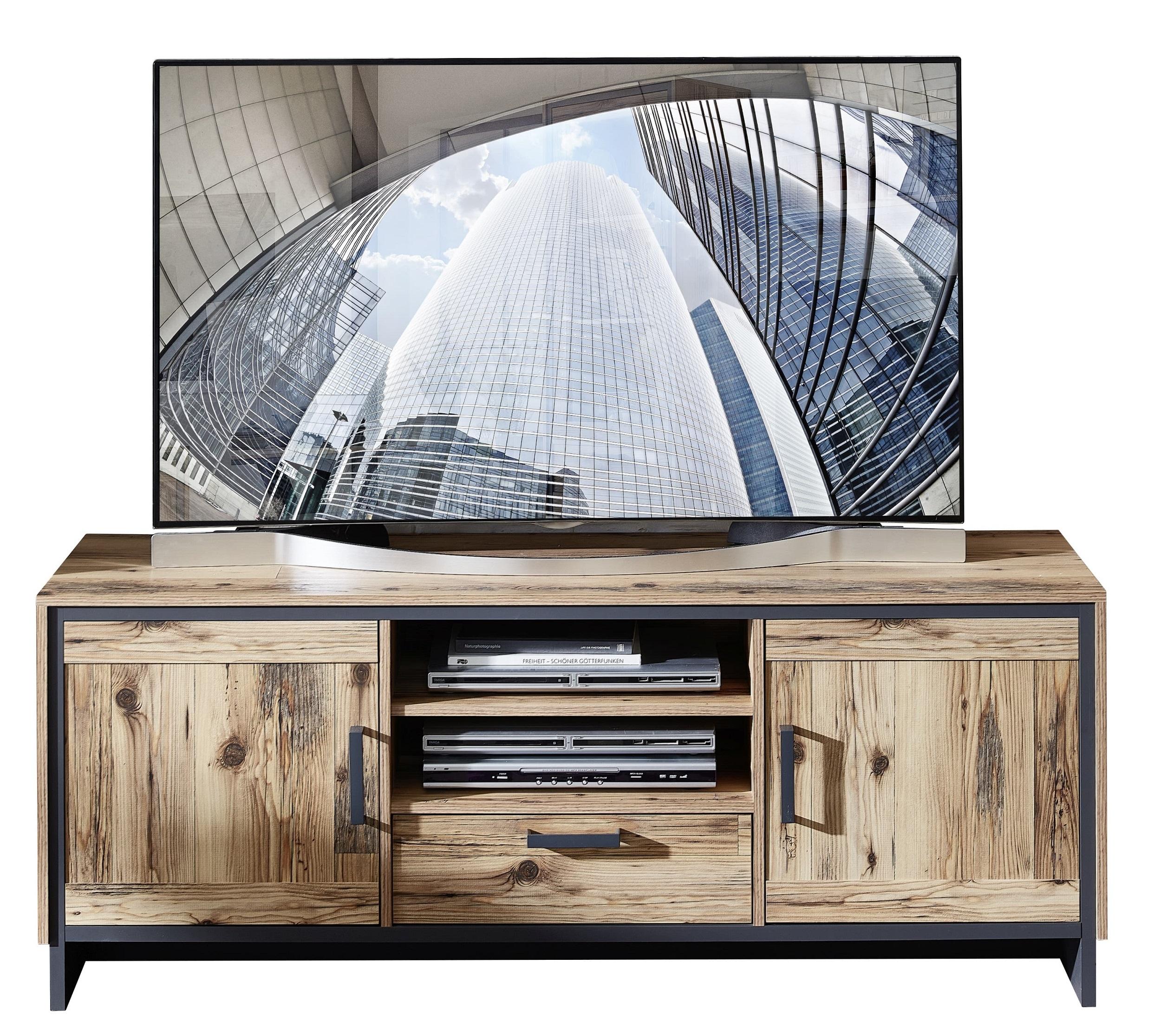 Comoda TV din pal, cu 1 sertar si 2 usi Pato Natural / Grafit, l155xA45xH61 cm vivre.ro