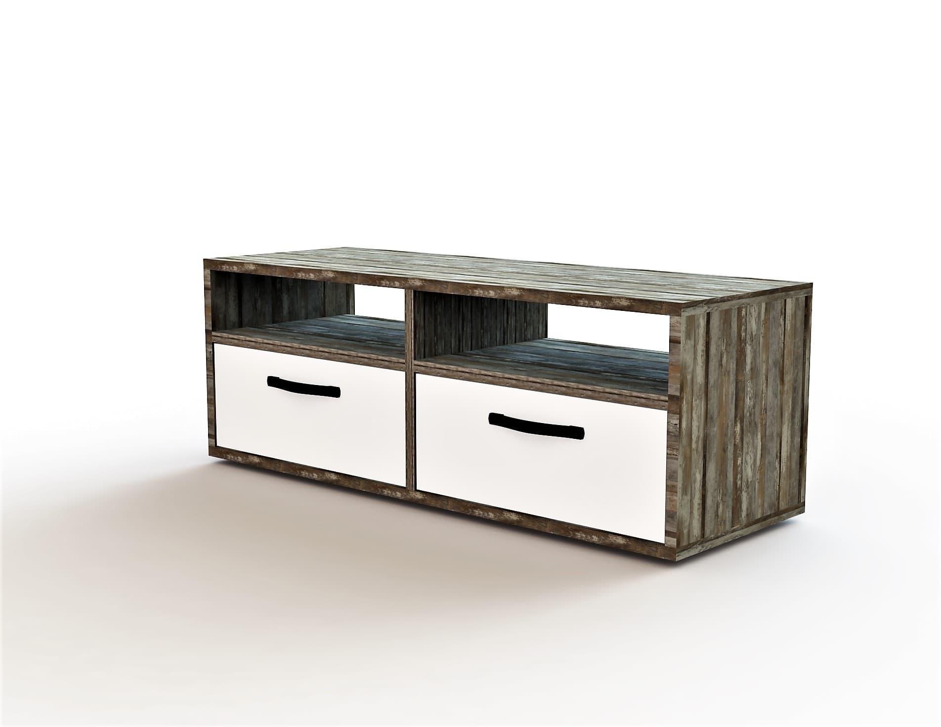Comoda TV din pal, cu 2 sertare pentru copii Vicky II Alb / Driftwood, l120xA45,5xH45 cm poza