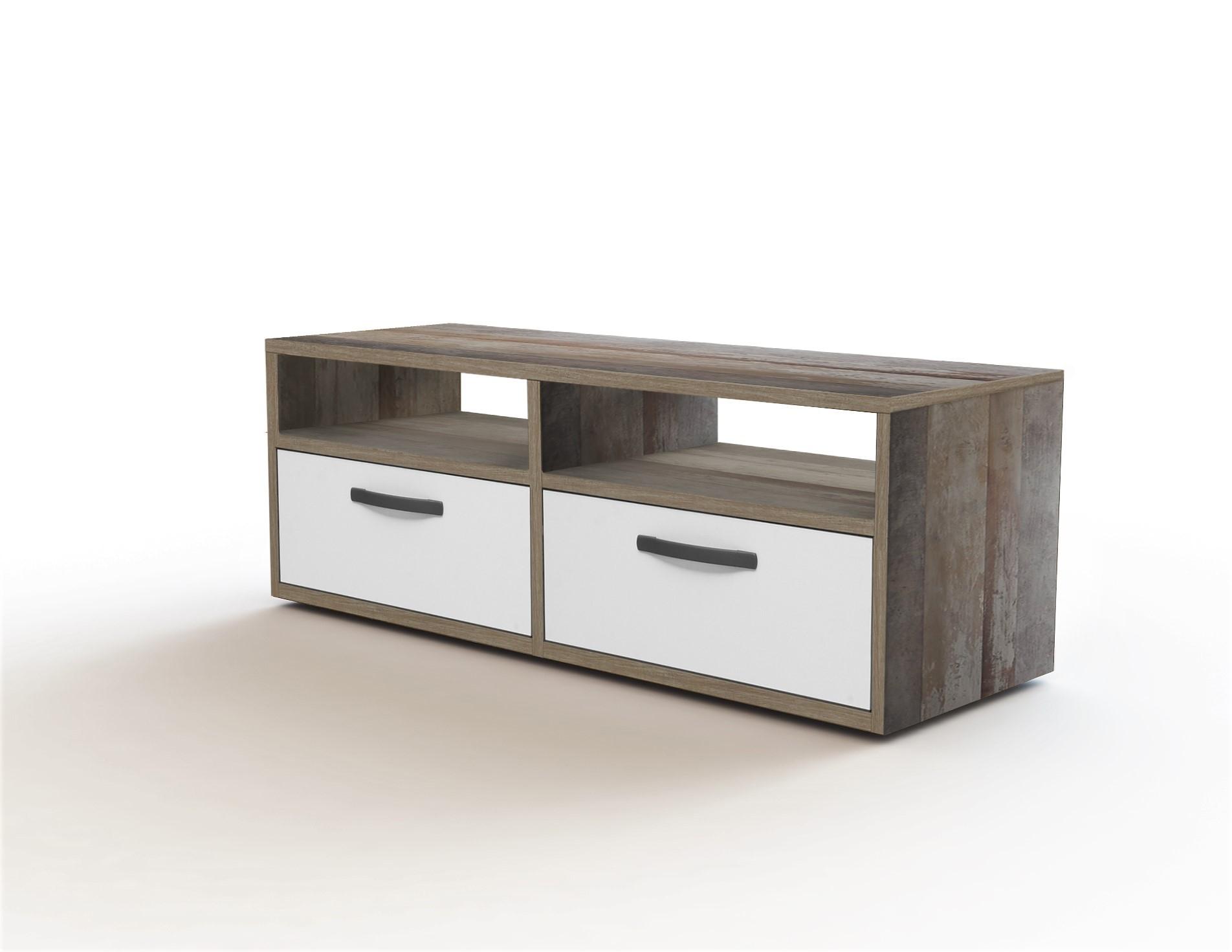 Comoda TV din pal, cu 2 sertare pentru copii Vicky II Alb / Driftwood, l120xA45,5xH45 cm somproduct.ro