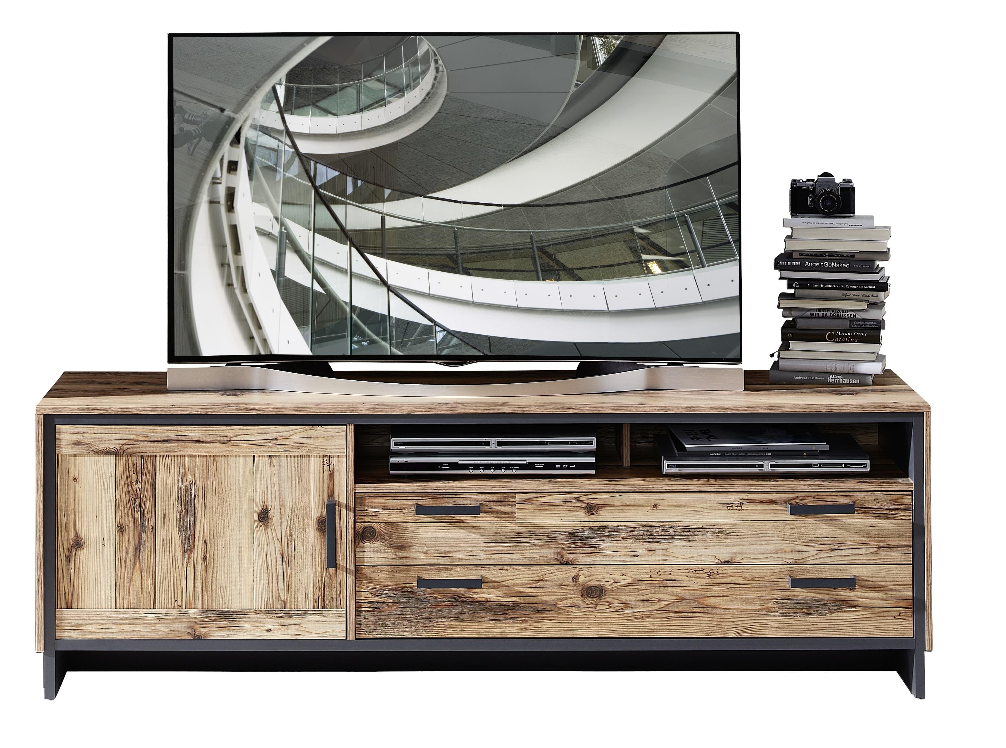 Comoda TV din pal, cu 2 sertare si 1 usa Pato Large Natural / Grafit, l184xA45xH61 cm poza