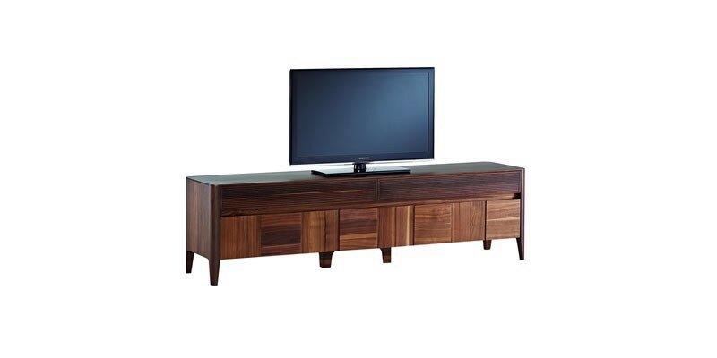 Comoda Tv Din Pal Cu 2 Sertare Si 2 Usi Noble Small Nuc, L211,5xa48,7xh57,8 Cm