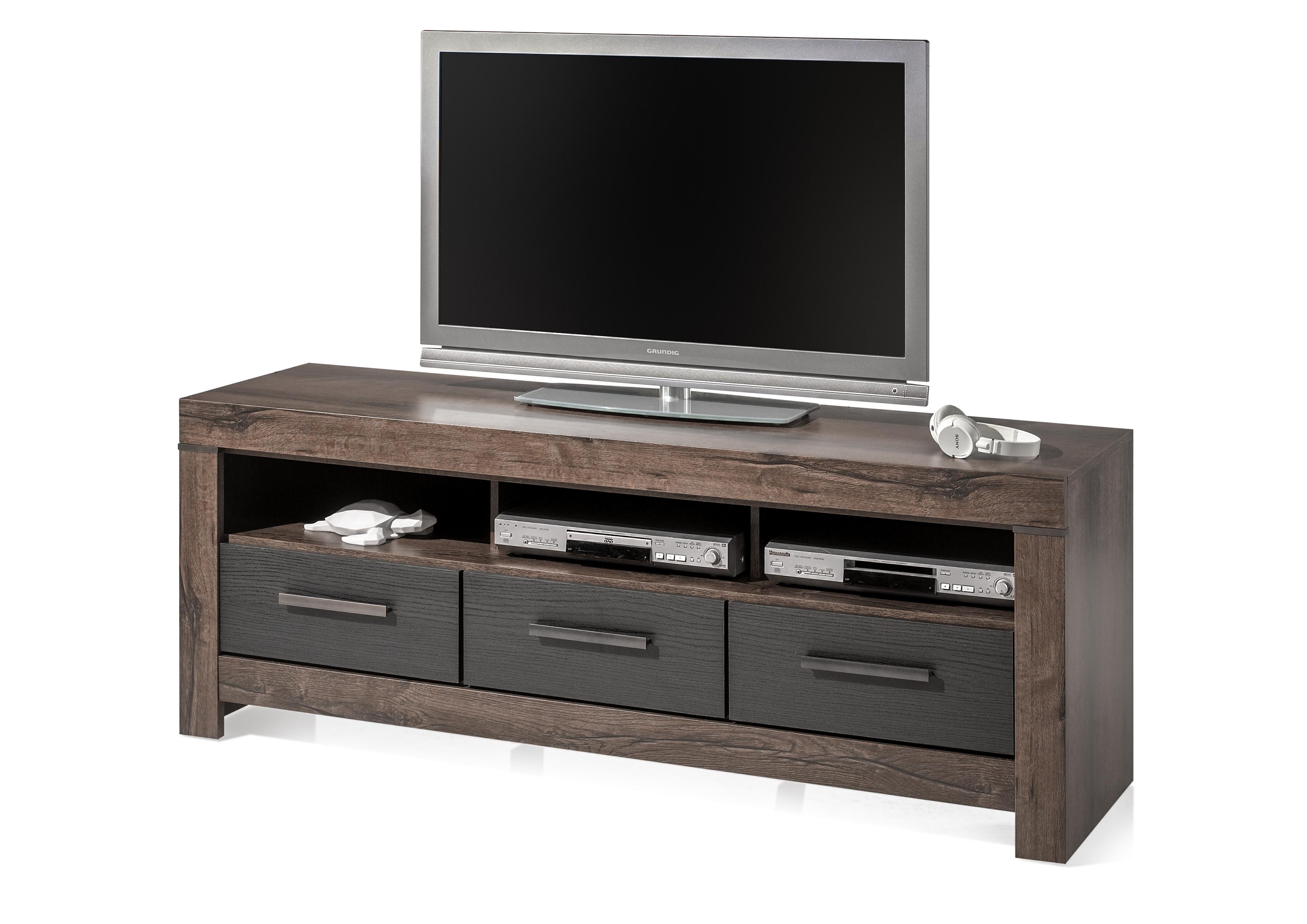 Comoda TV din pal, cu 3 sertare Blake Stejar Negru / Stejar, l160xA45xH61 cm