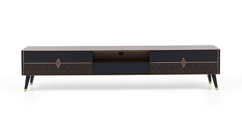 Comoda TV din pal, cu 3 sertare Diamond Large Nuc / Grafit, l240xA48,2xH49,5 cm imagine