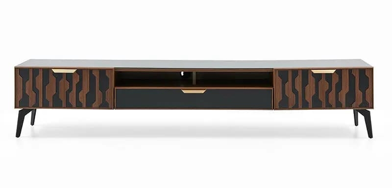 Comoda TV din pal cu 3 sertare Louisa Nuc / Negru, l216xA47,7xH43,5 cm