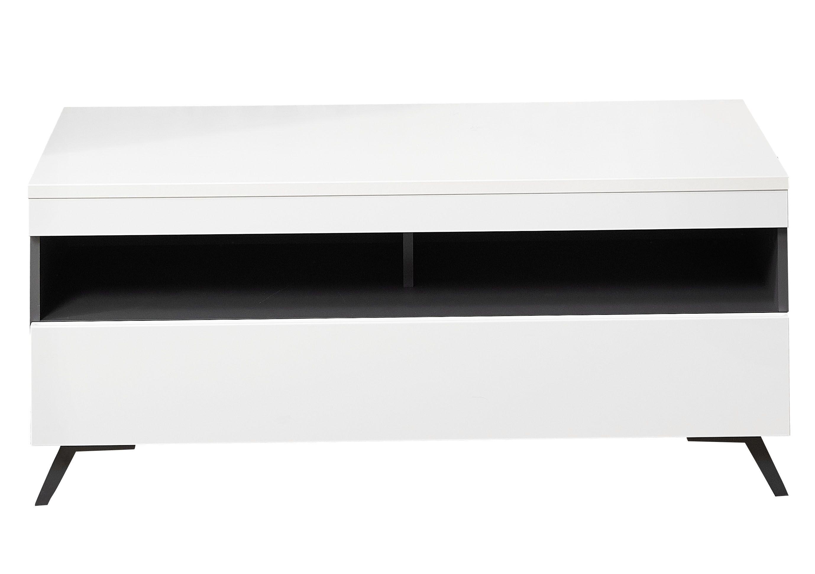 Comoda TV din pal si MDF, cu 1 sertar Dakota Small Alb, l120xA47xH53 cm imagine