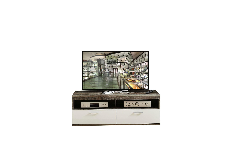 Comoda TV din pal si MDF, cu 1 sertar si 1 usa Krone Small Alb / Natur, l140xA48xH50 cm imagine