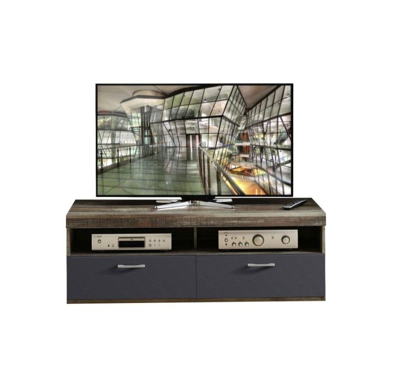 Comoda TV din pal si MDF, cu 1 sertar si 1 usa Krone Small Grafit / Natur, l140xA48xH50 cm imagine