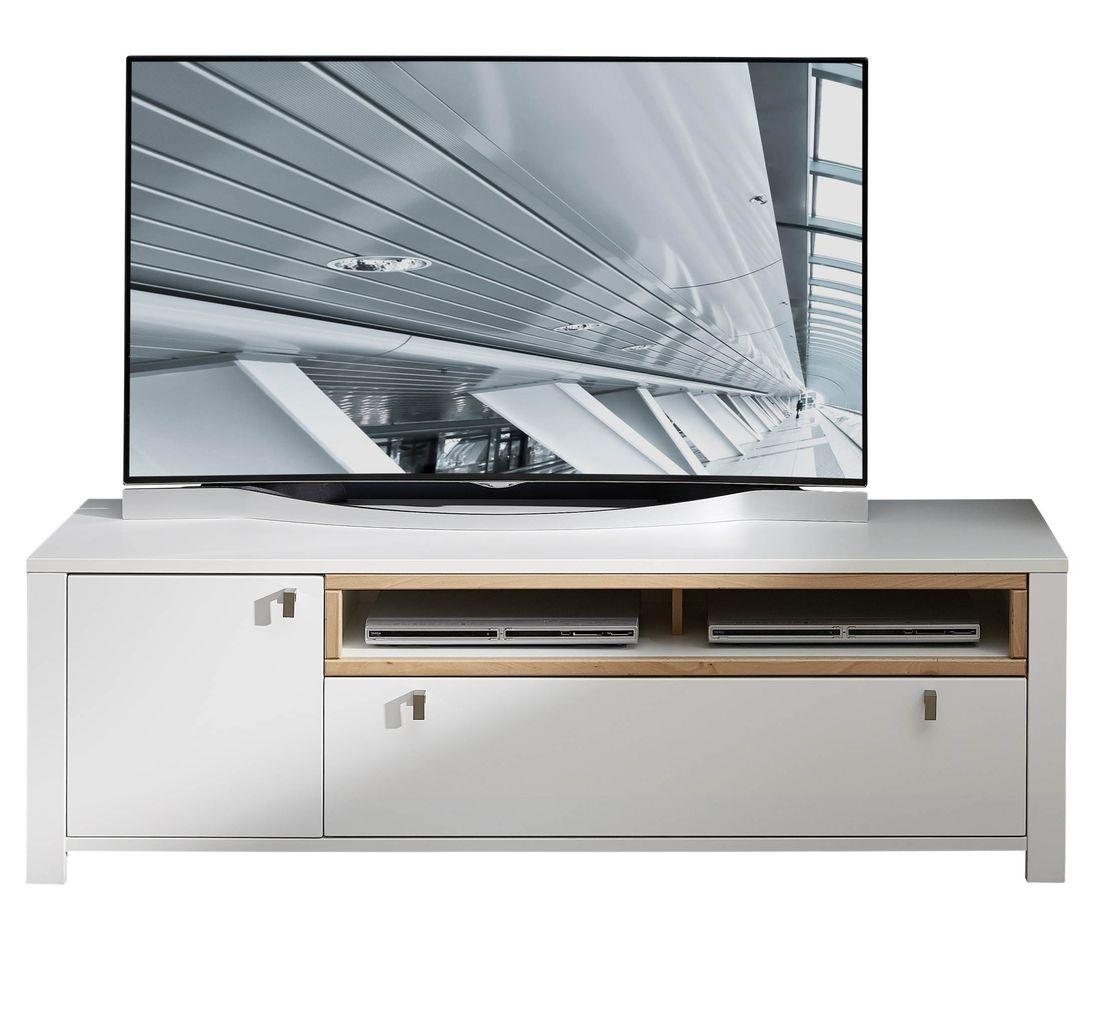 Comoda TV din pal si MDF cu 1 sertar si 1 usa, Selina Alb / Natur, l162xA47xH51 cm vivre.ro