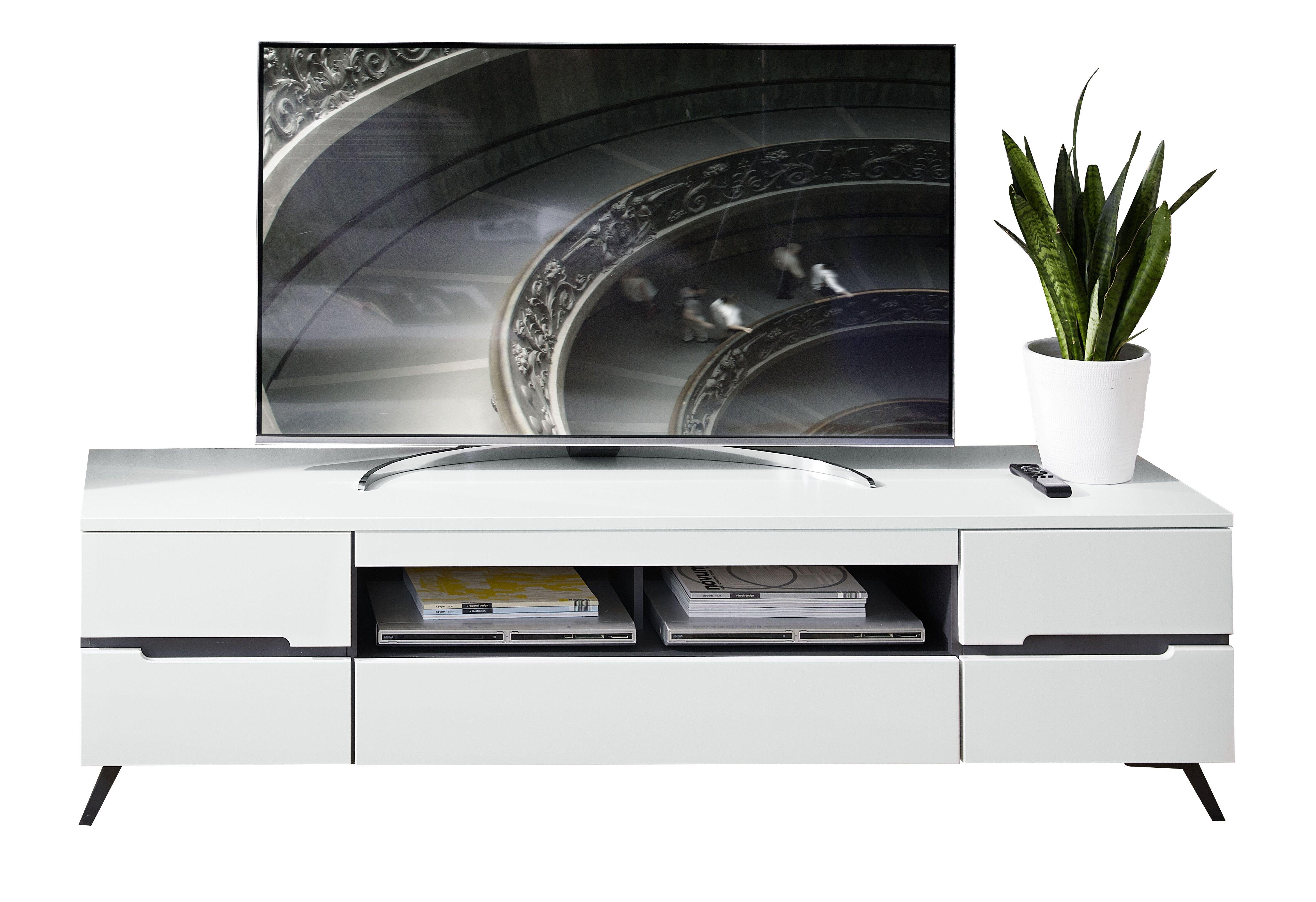 Comoda TV din pal si MDF, cu 1 sertar si 2 usi Dakota Large Alb, l190xA47xH53 cm imagine
