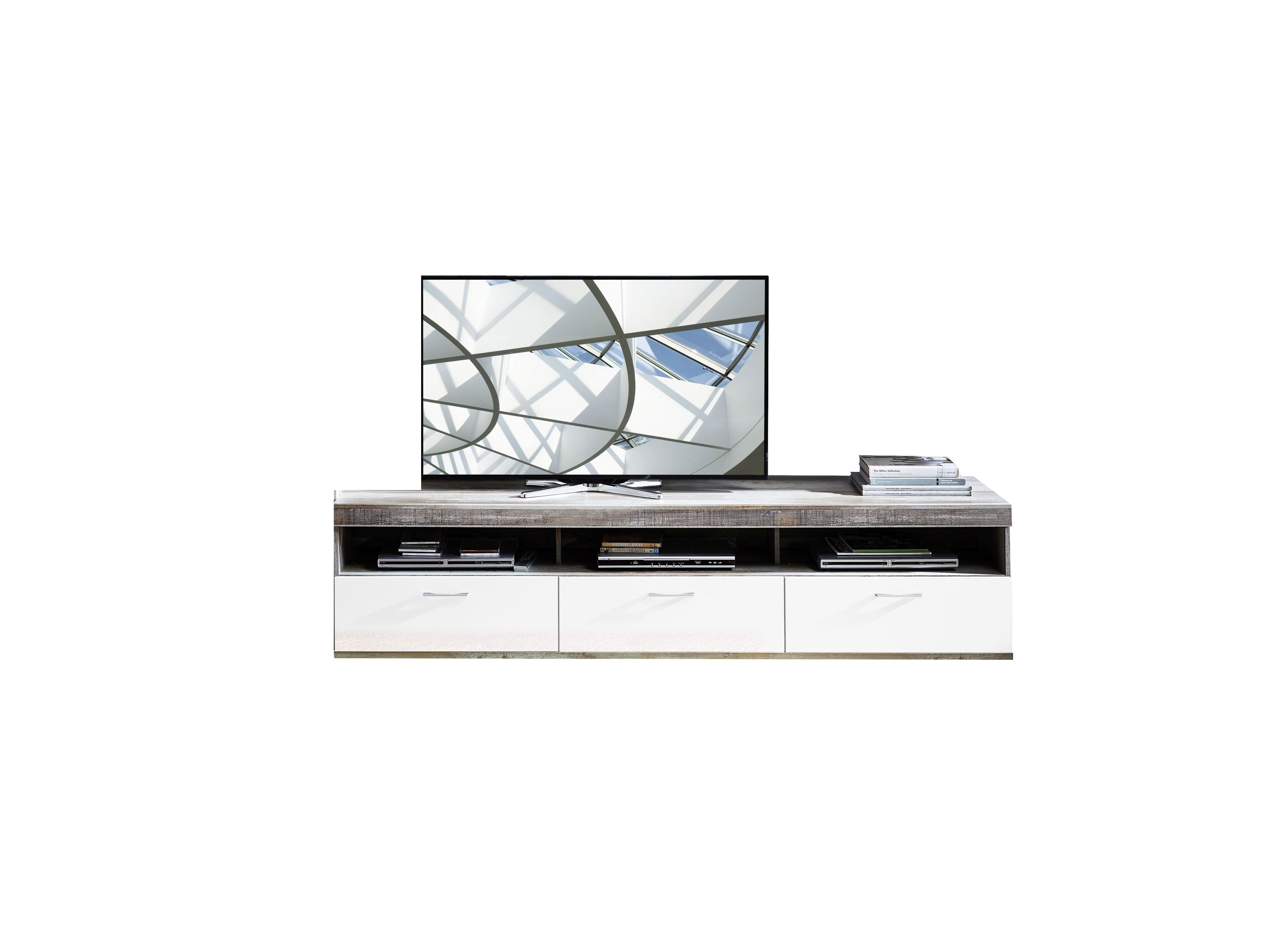 Comoda TV din pal si MDF, cu 1 sertar si 2 usi Krone Large Alb / Natur, l210xA48xH50 cm imagine