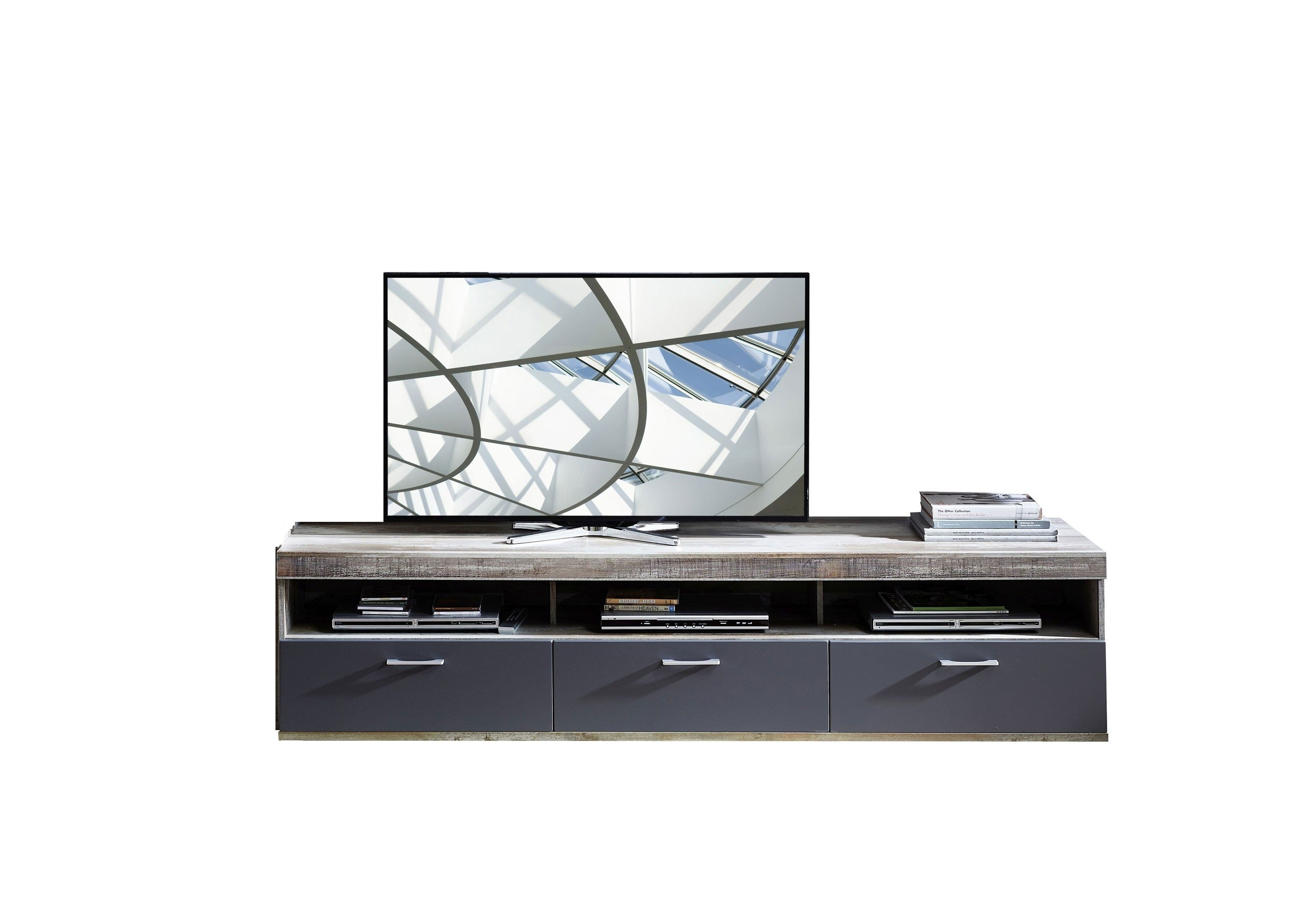 Comoda TV din pal si MDF, cu 1 sertar si 2 usi Krone Large Grafit / Natur, l210xA48xH50 cm
