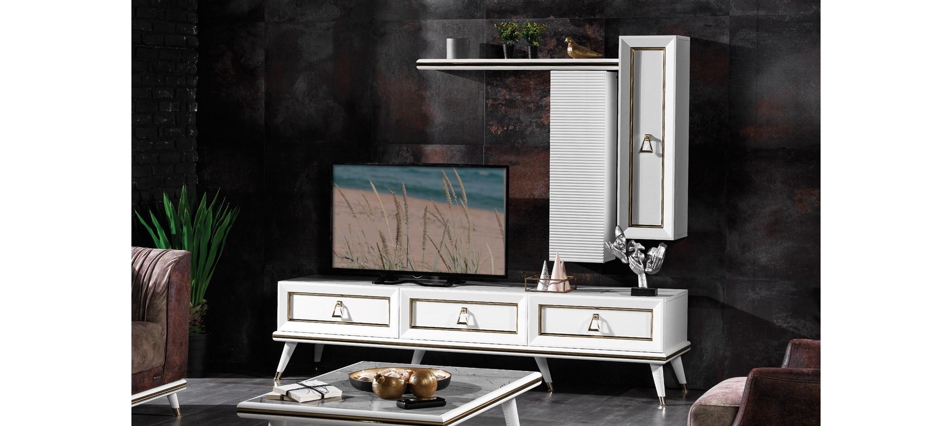 Comoda TV din pal si metal, cu 3 sertare Toscana Alb / Auriu, l203xA50xH50 cm