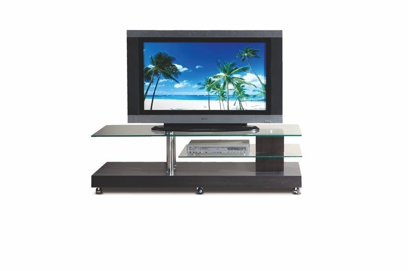 Comoda TV din sticla si MDF RTV-7 BIS Wenge, l145xA45xH41 cm imagine