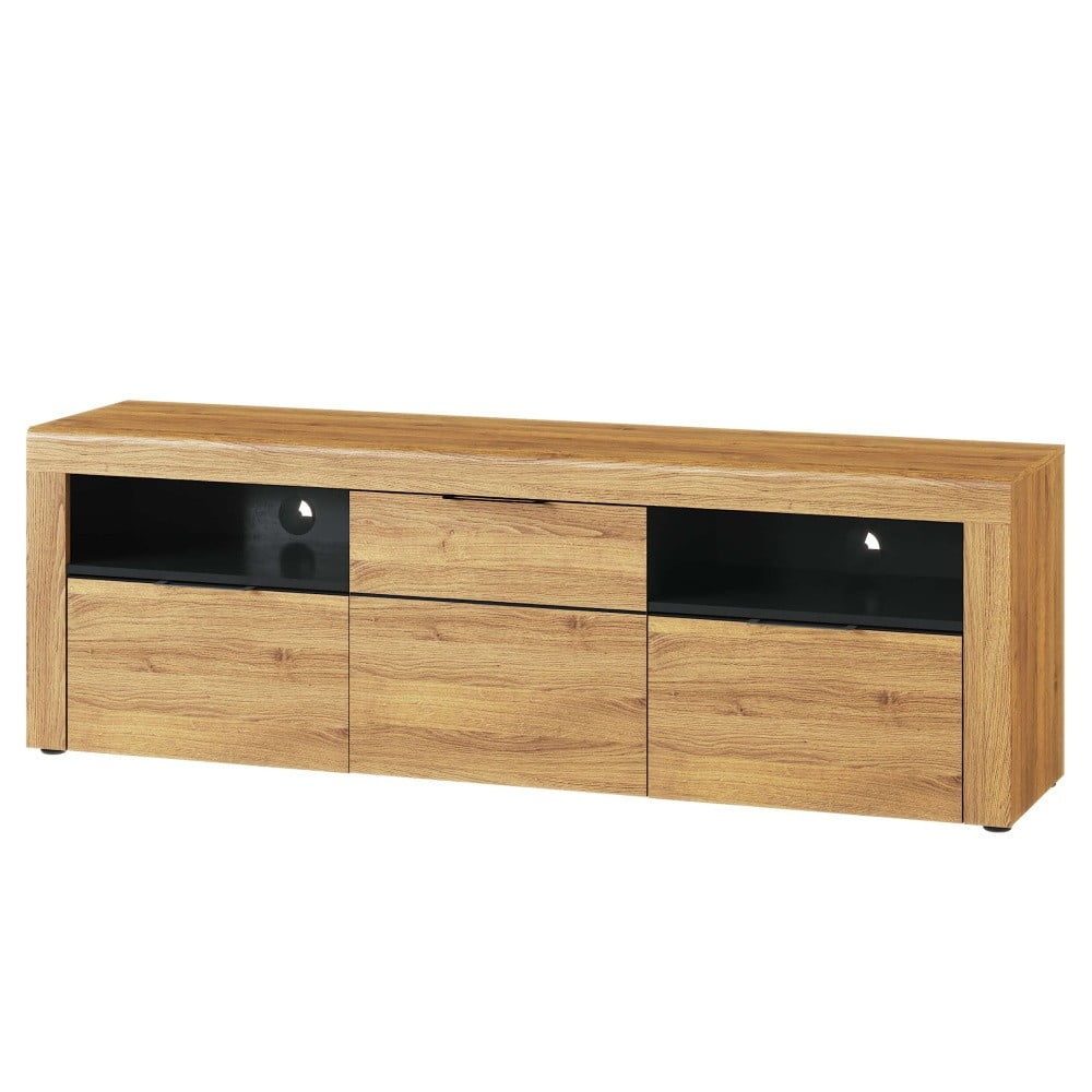 Comoda TV din pal cu 2 sertare si 1 usa Large Kama 25 Stejar / Negru, l171xA40xH56 cm vivre.ro