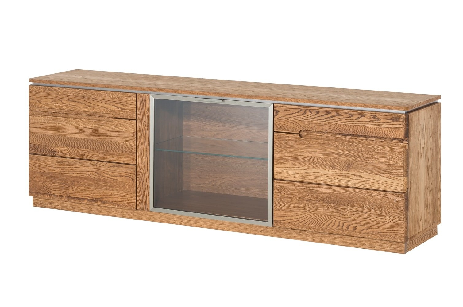Comoda TV din lemn si furnir, cu 3 usi Montenegro 26 Large Stejar Rustic, l180xA42xH59 cm vivre.ro