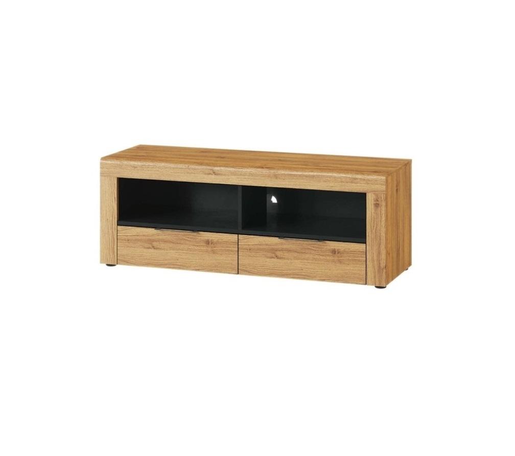 Comoda TV din pal cu 2 sertare Small Kama 24 Stejar / Negru, l119xA40xH44 cm vivre.ro