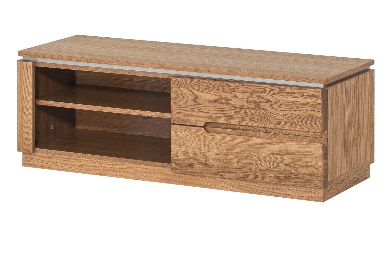 Comoda TV din lemn si furnir, cu 1 usa Montenegro 24 Small Stejar Rustic, l108xA42xH38 cm imagine