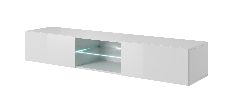 Comoda TV suspendata din pal si MDF, cu 2 usi Livo RTV-180W White, l180xA40xH30 cm imagine