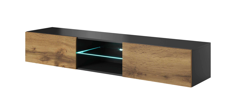 Comoda TV suspendata din pal si MDF, cu 2 usi Livo RTV-180W Wotan Oak / Anthracite, l180xA40xH30 cm imagine