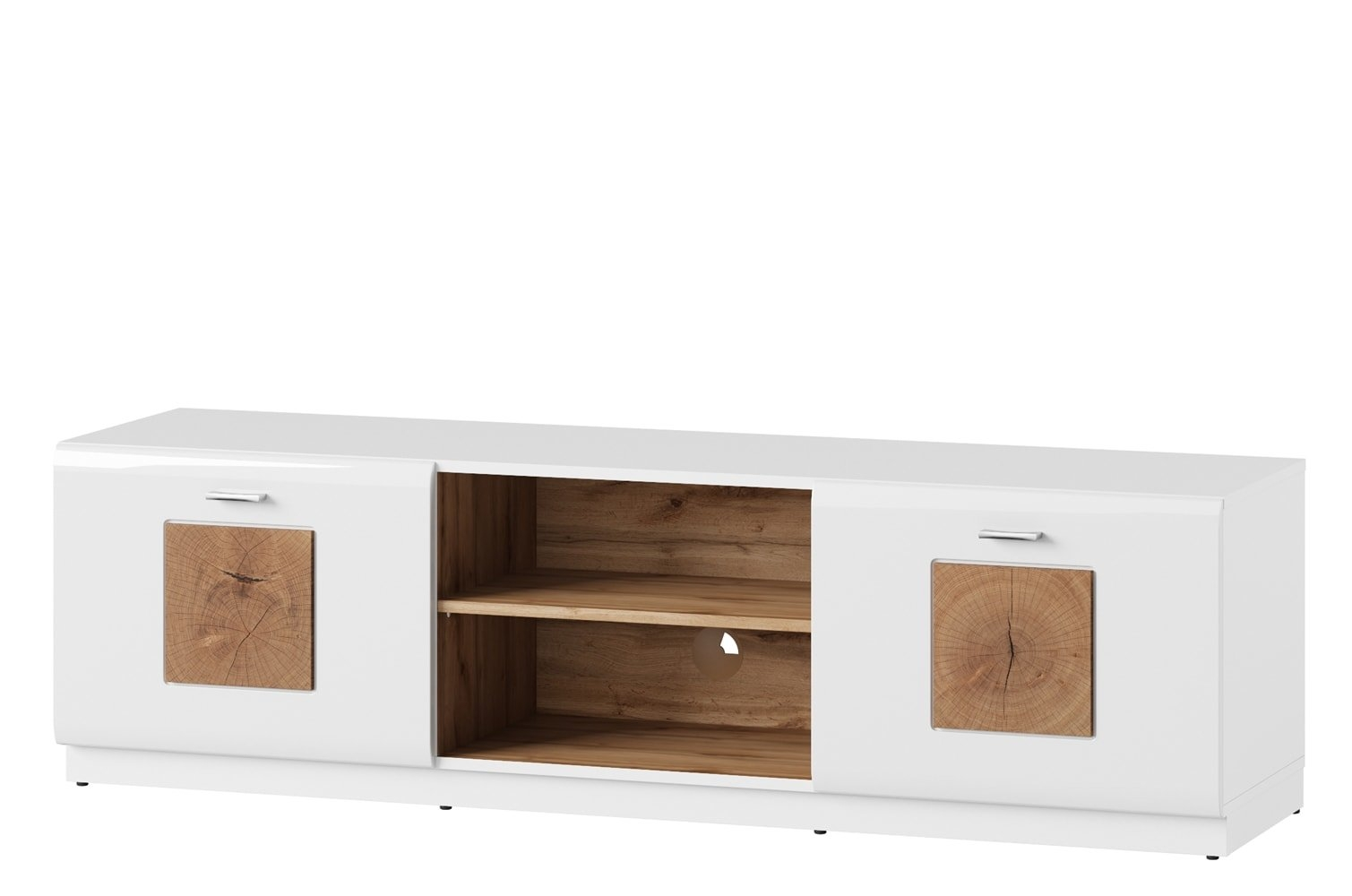 Comoda TV din pal cu 2 usi Wood 25 Alb / Stejar Wotan, l154xA40xH44 cm imagine