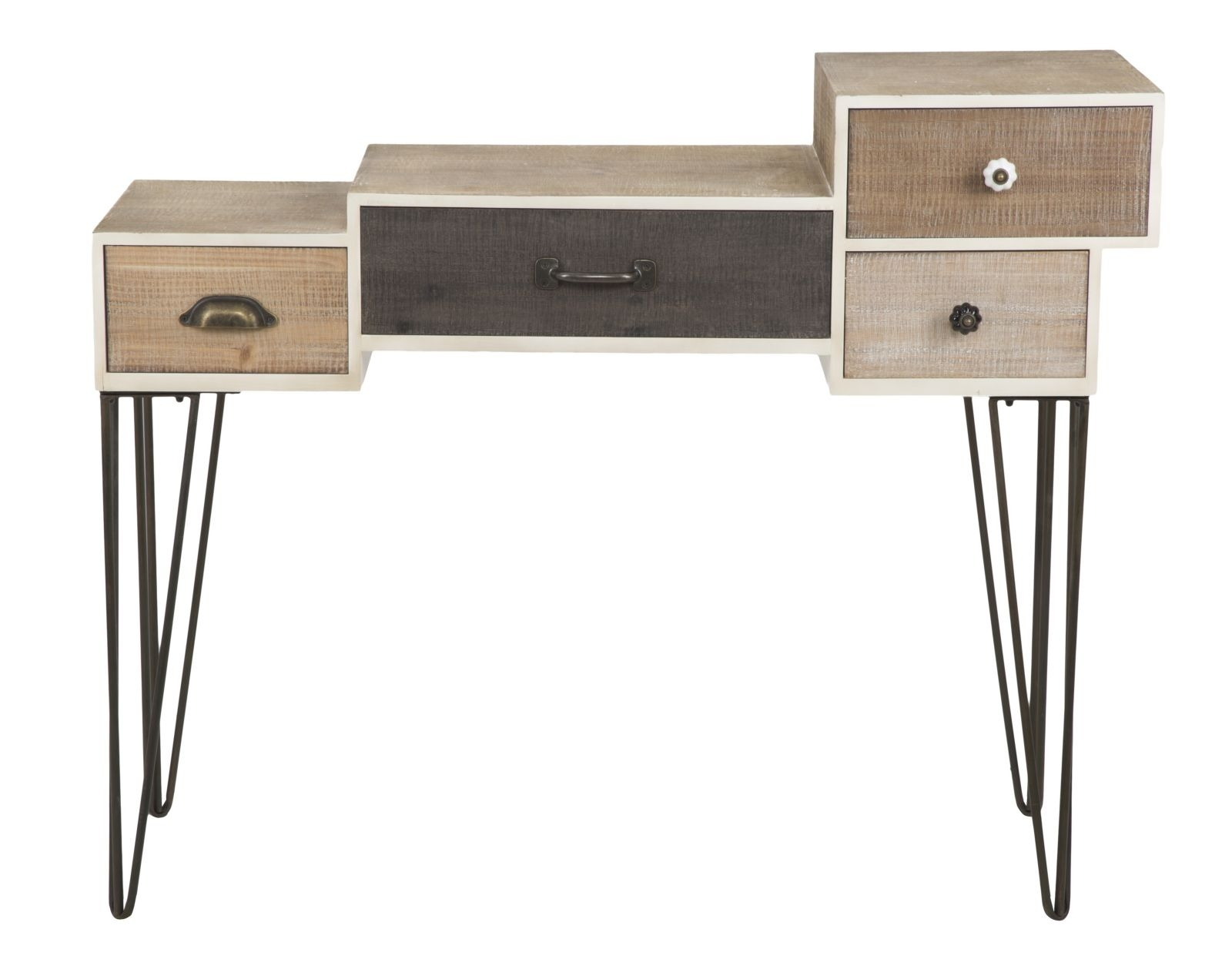 Consola din lemn cu 4 sertare Raw, L106xl44xh85 cm