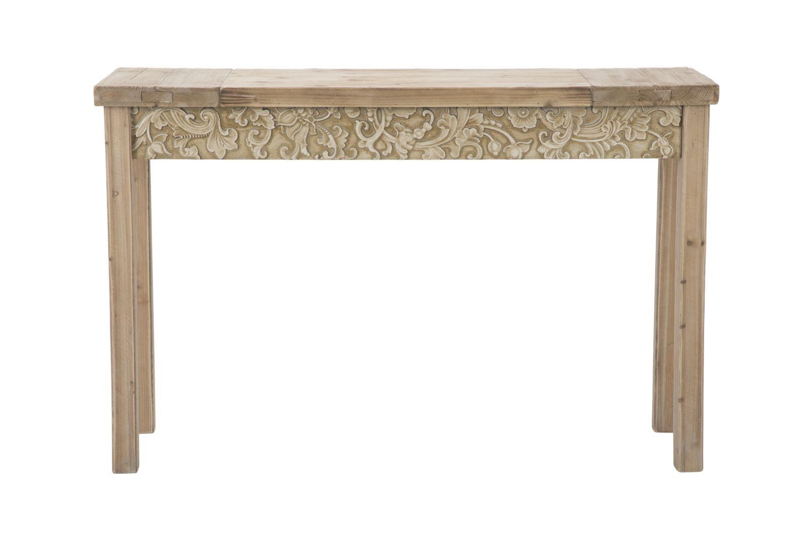 Consola din lemn de brad si MDF Reinassance, L120xl40xh77,5 cm
