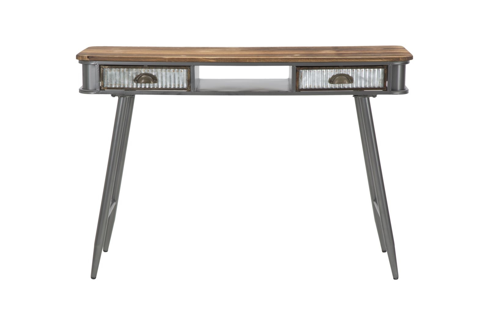 Consola din lemn de brad si metal cu 2 sertare Illinois Grey / Natural, l40xA111xH76 cm