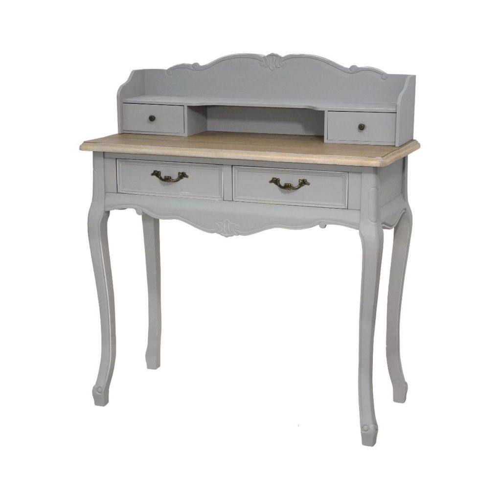 Consola din lemn de plop si MDF cu 4 sertare Catania Grey CAT016S/2B, l90xA40xH103 cm