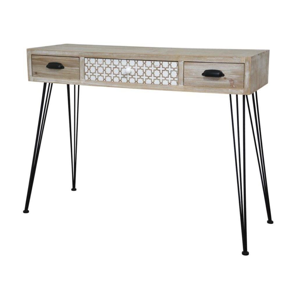 Consola din lemn de plop si MDF cu 3 sertare Loano LO013, l105xA36xH80 cm poza