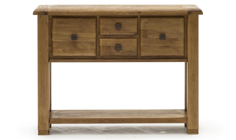 Consola din lemn de stejar cu 4 sertare Danube Large Oak l120xA36xH90 cm
