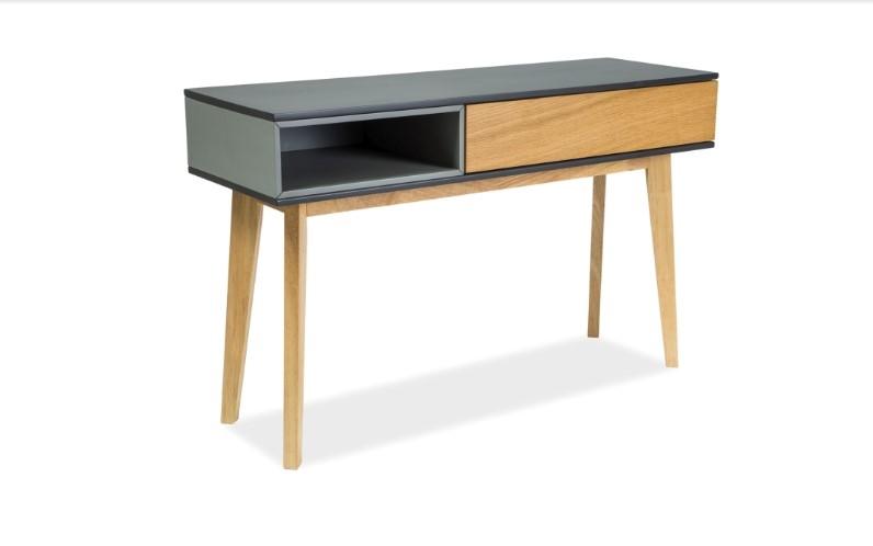 Consola din lemn si MDF Roma C Oak / Graphite, l120xA40xH75 cm