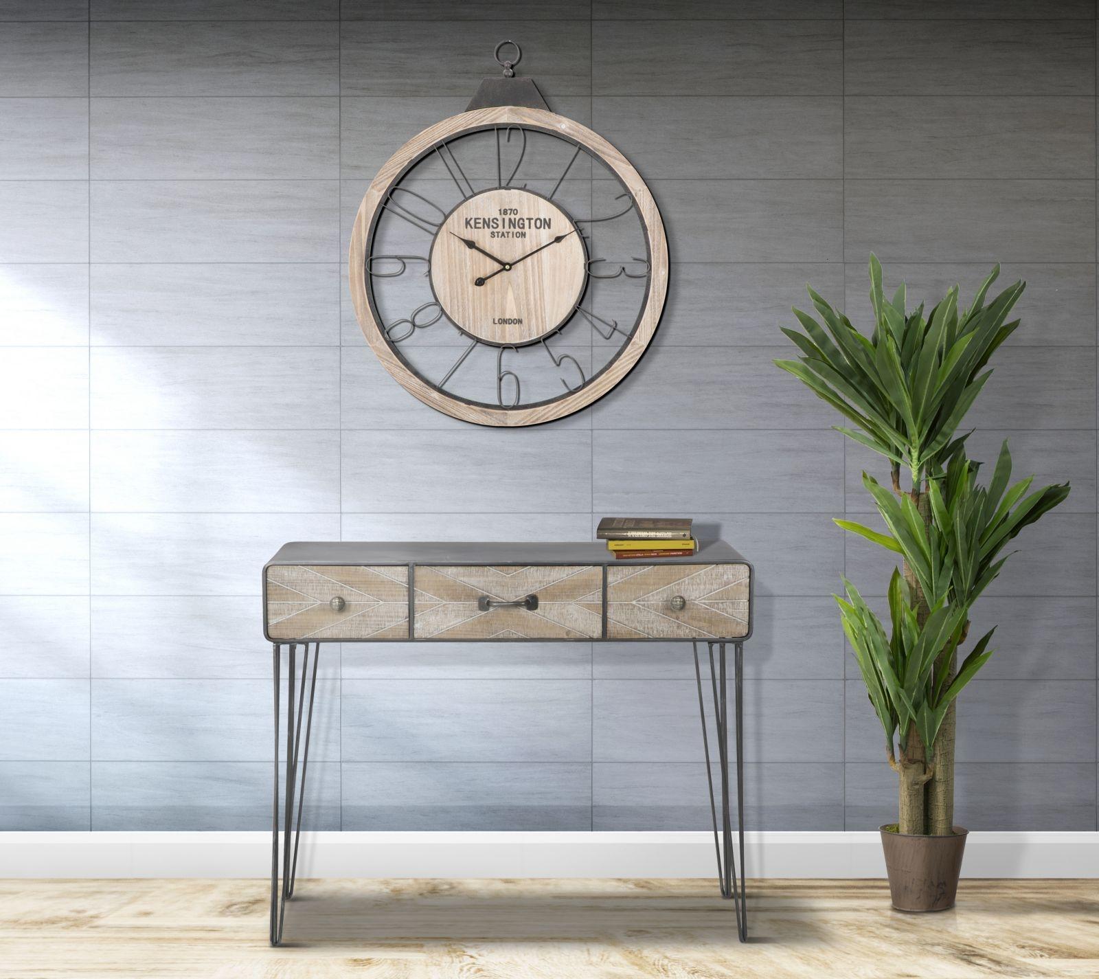 Consola din lemn si metal, cu 3 sertare Oklahoma Natural / Grafit, l100xA38,5xH80 cm imagine