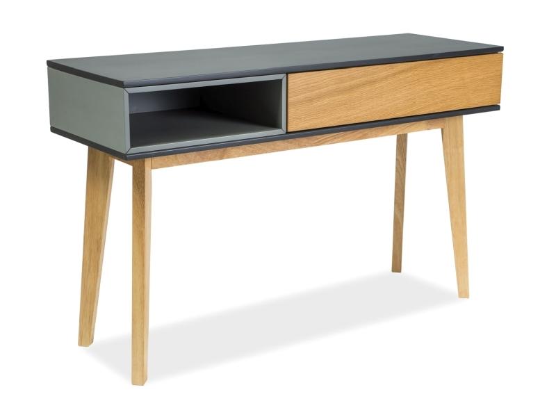Consola din MDF, furnir si lemn, cu 1 sertar Roma C Stejar / Grafit, l120xA40xH75 cm poza