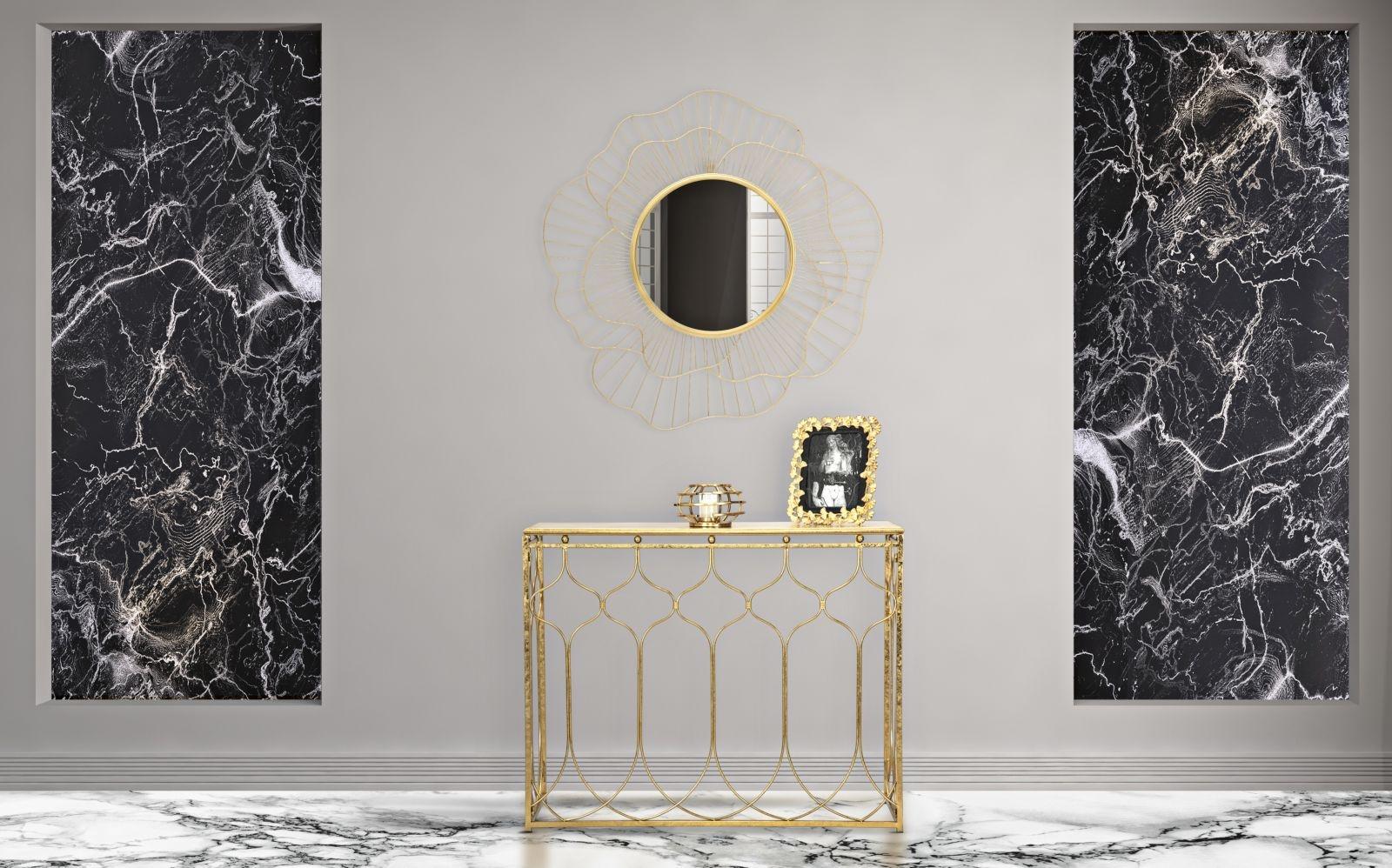 Consola din metal Arab Glam Auriu, l95,5xA41xH78 cm imagine