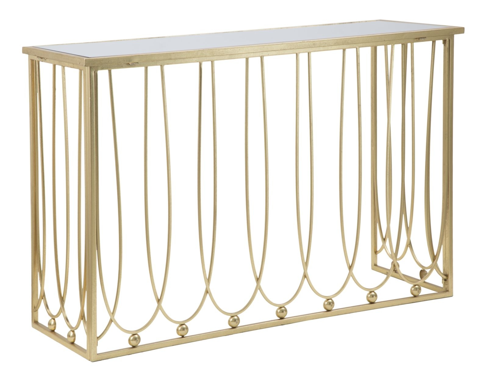 Consola din metal si sticla Amelie Gold, l120xA43xH80 cm