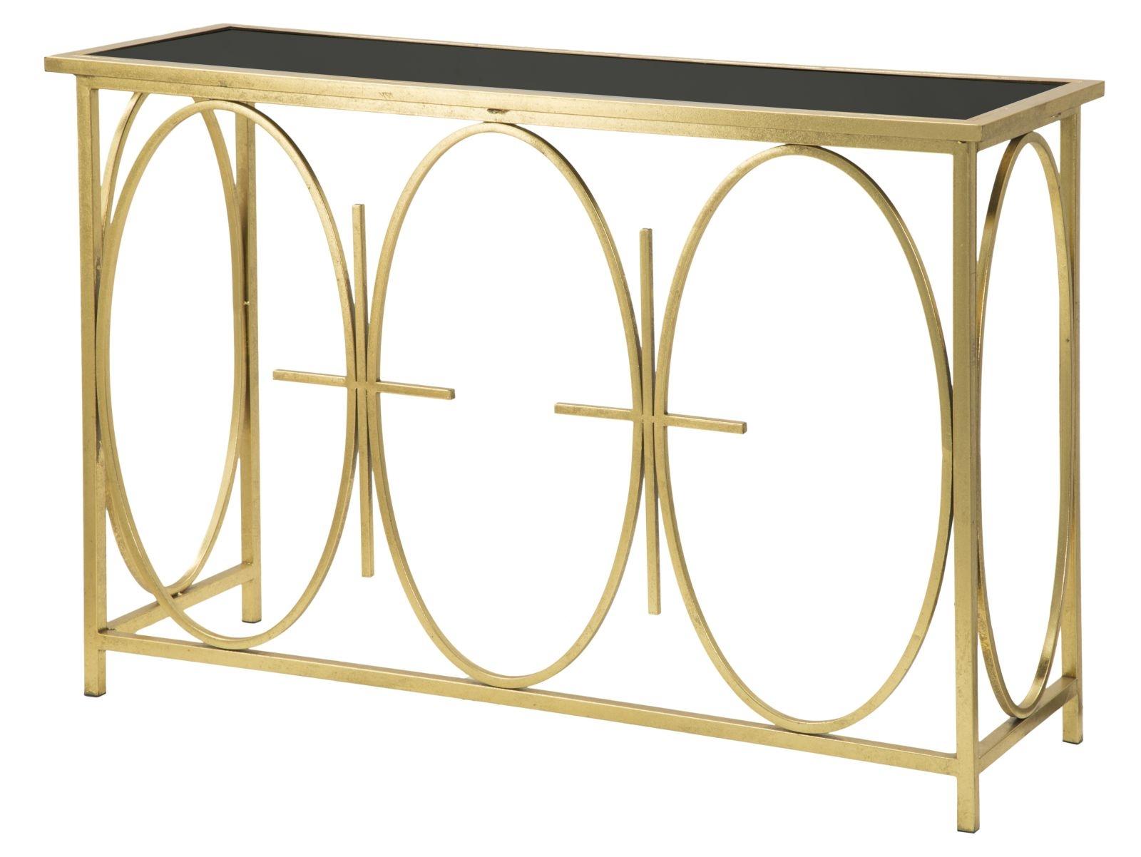 Consola din metal si sticla Circle Gold / Black, l40,5xA122xH81,5 cm
