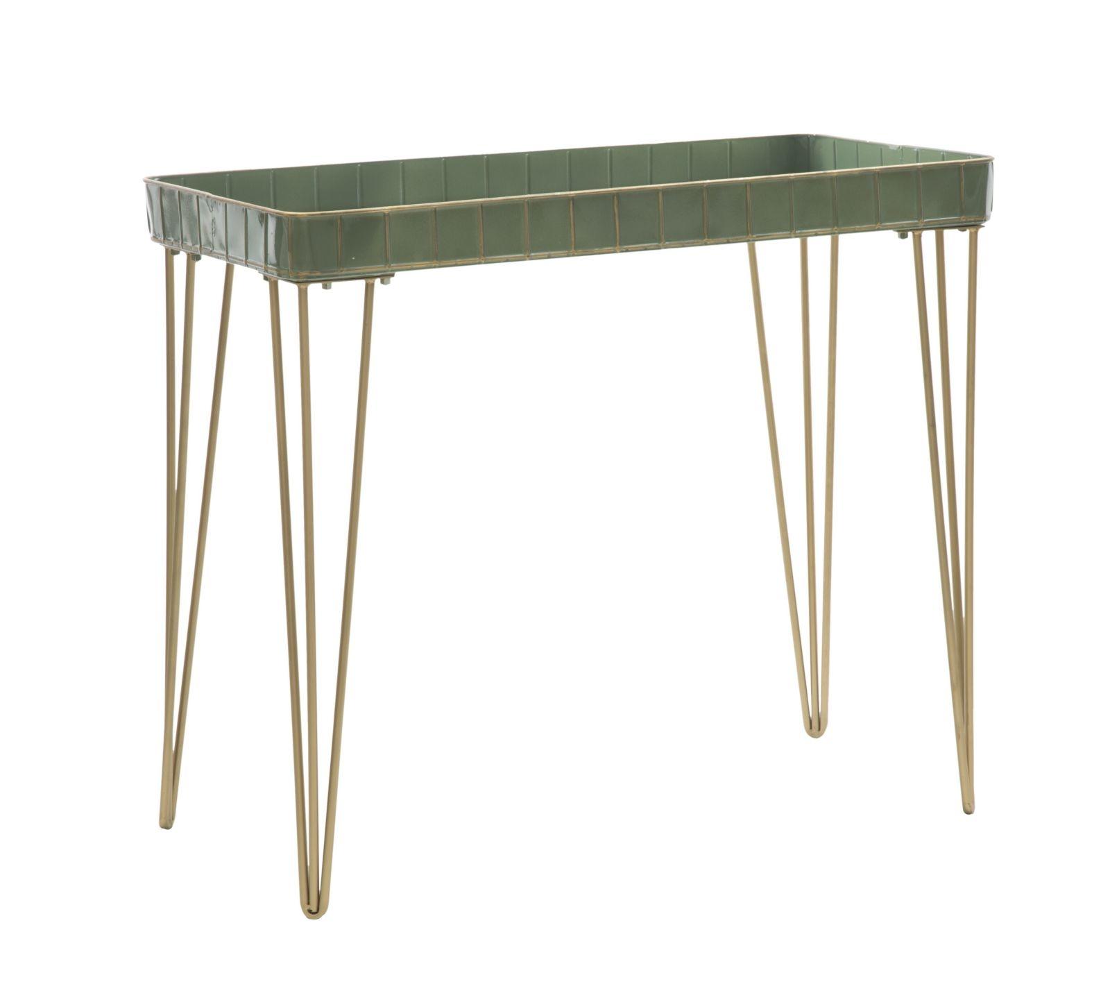 Consola din metal si sticla Glam Verde, l80xA41xH70 cm