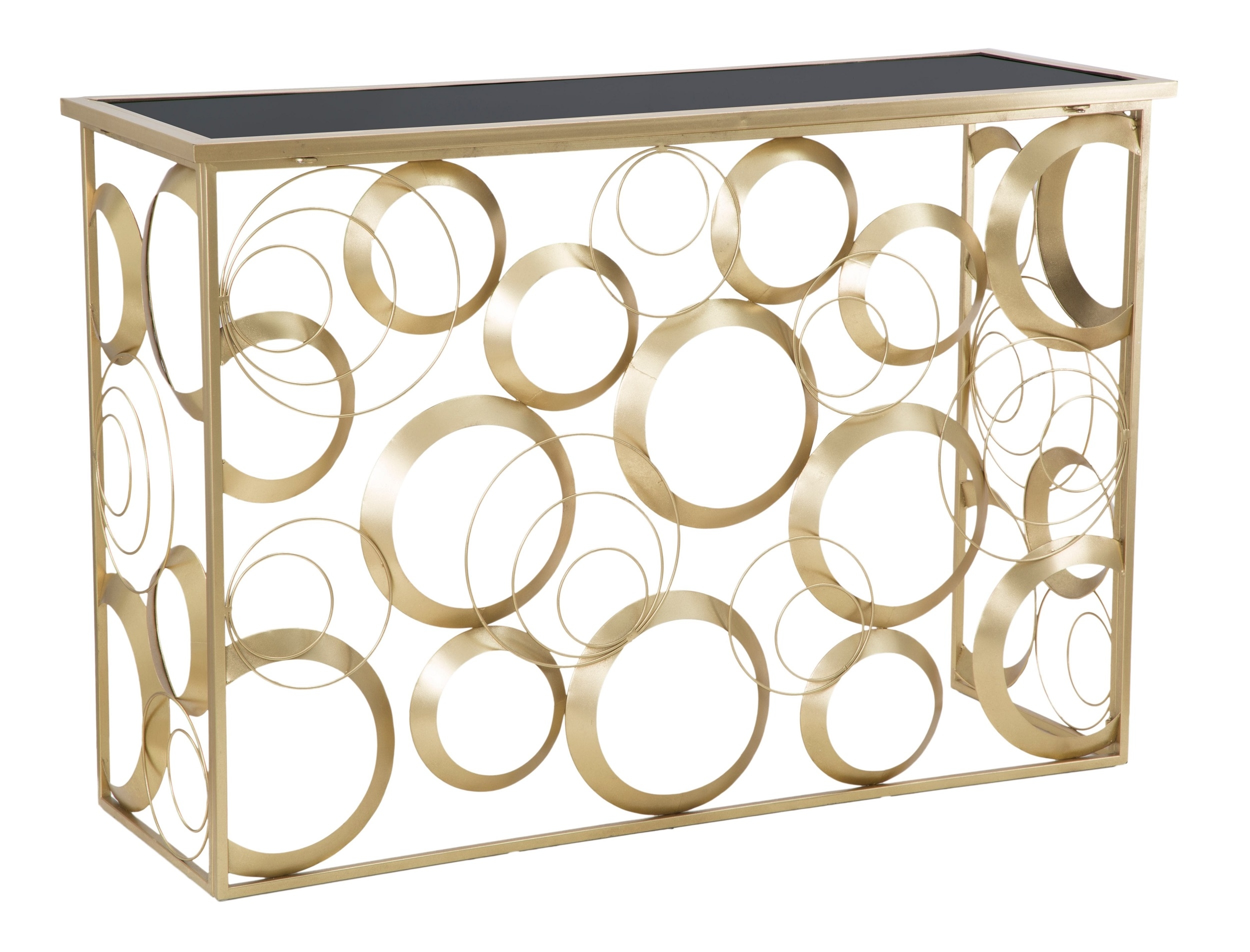Consola din metal si sticla Globe Auriu, l120xA40,5xH81,5 cm poza