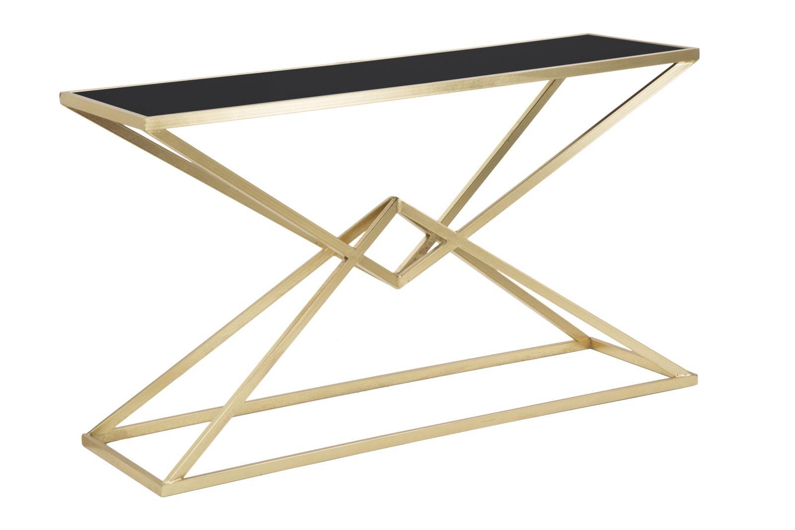 Consola din metal si sticla Piramid Gold / Black, l130xA40xH75 cm