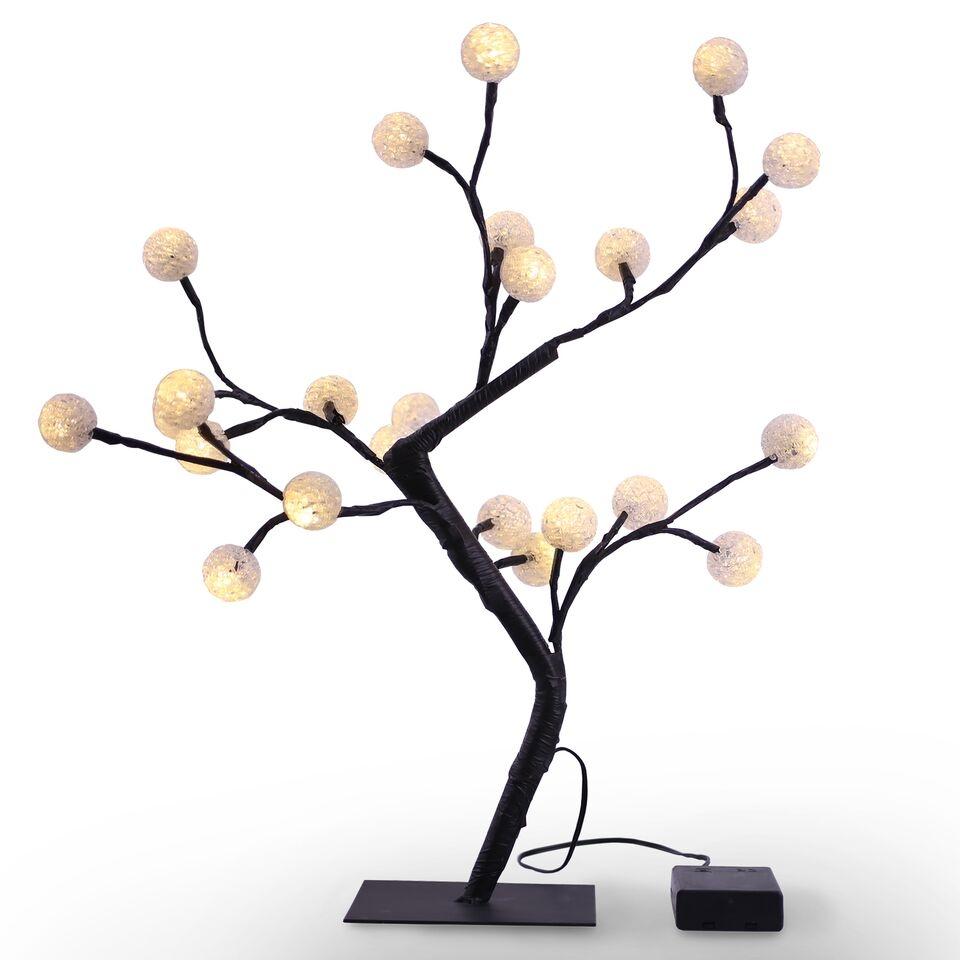 Copac decorativ cu 24 LED-uri Bonsai White / Black H45 cm