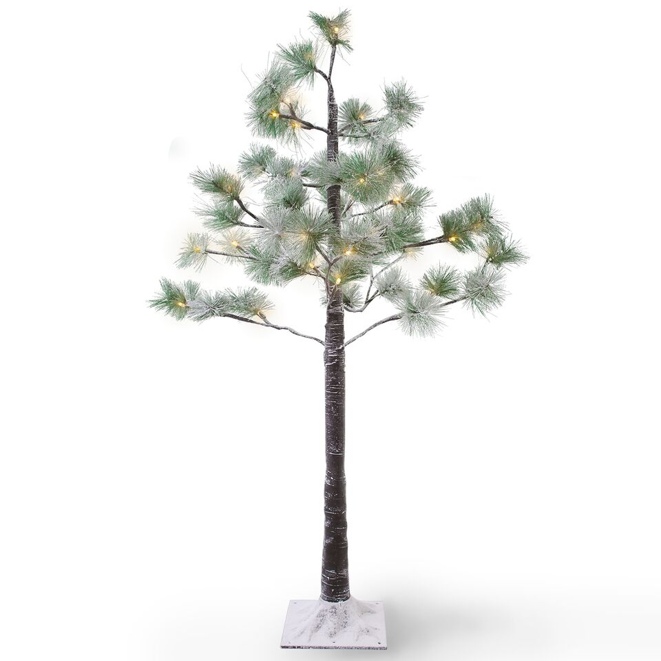 Copac decorativ cu 48 LED-uri Snow Pine Green / Black H100 cm