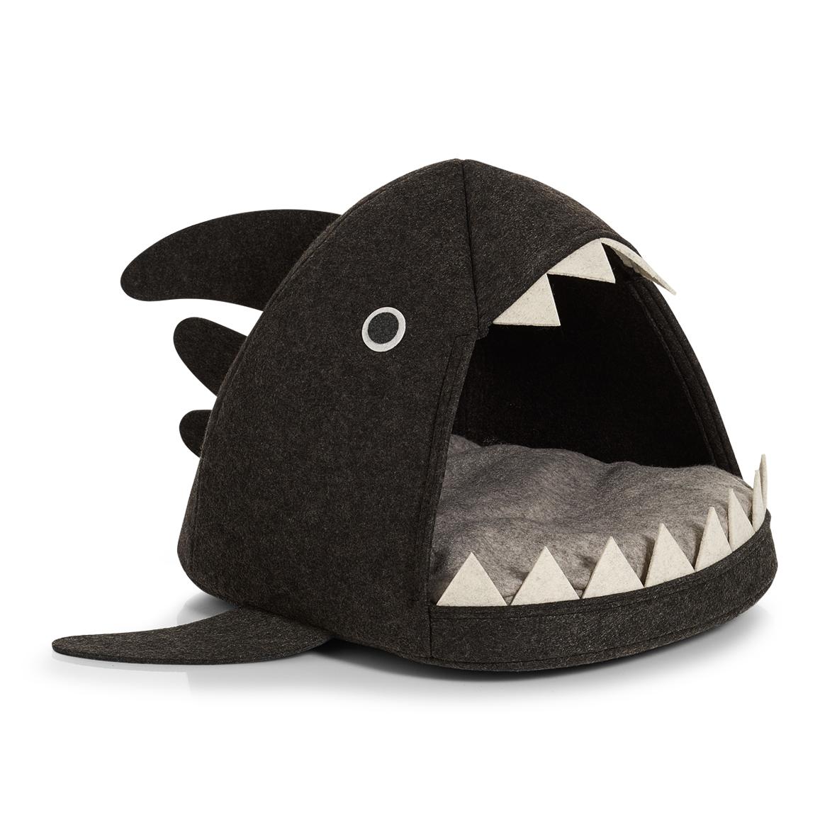 Cort de joaca pentru pisici, din pasla, Shark Cat Antracit, L45xl38xH34 cm