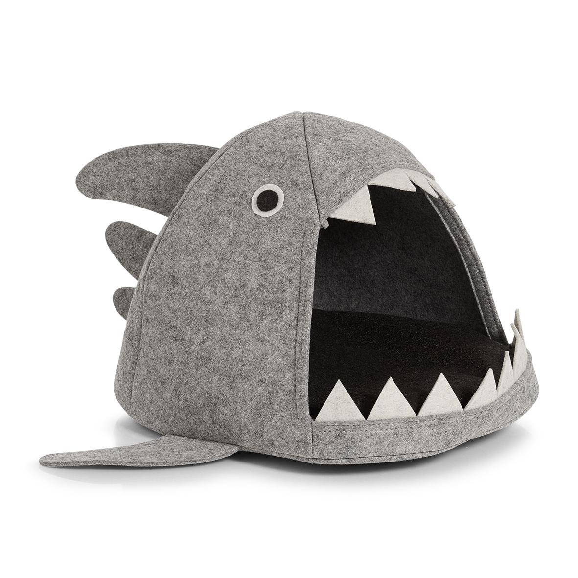Cort de joaca pentru pisici, din pasla, Shark Cat Gri Deschis, L45xl38xH34 cm