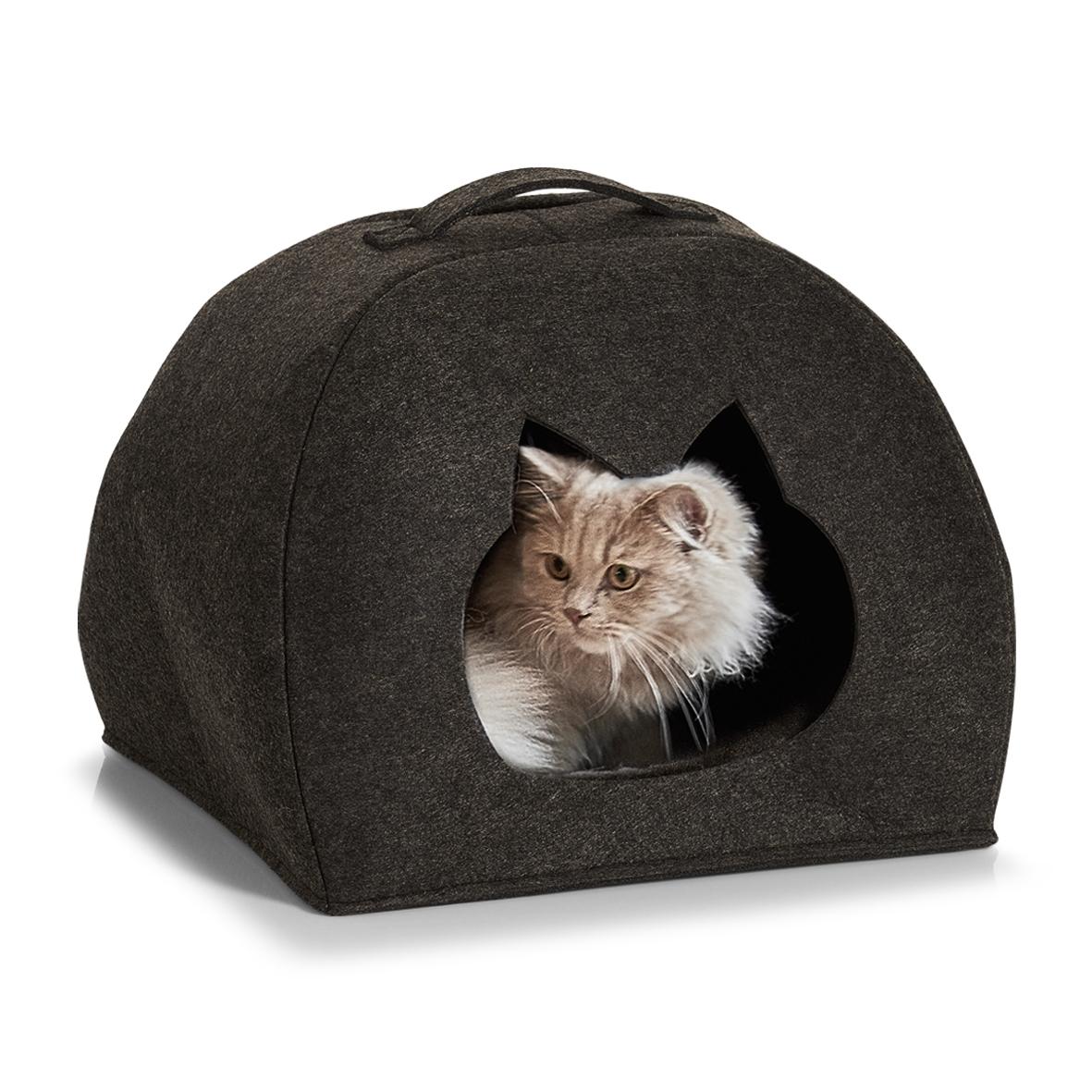 Cort de joaca pentru pisici, din pasla, Tipi Cat Antracit, L45xl38xH34,5-37,5 cm poza