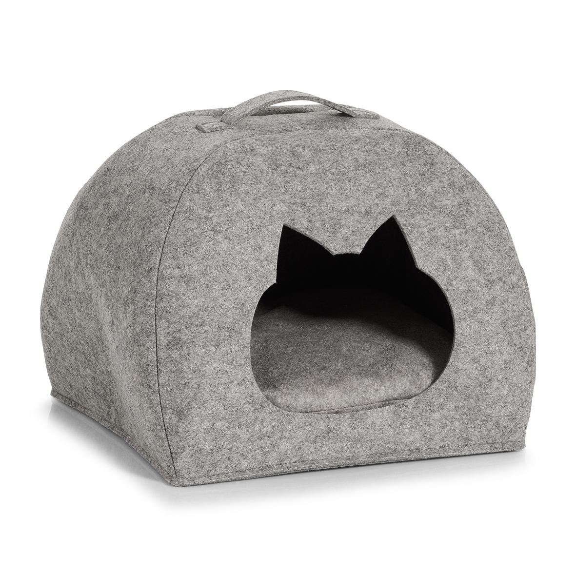 Cort de joaca pentru pisici, din pasla, Tipi Cat Gri Deschis, L45xl38xH34,5-37,5 cm poza